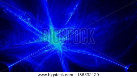 Blue And Green Abstract Pattern Lines Curves Particles On Dark Background