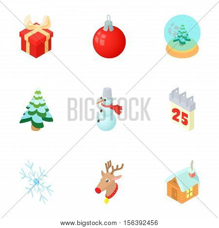 New year holiday icons set. Cartoon illustration of 9 new year holiday vector icons for web