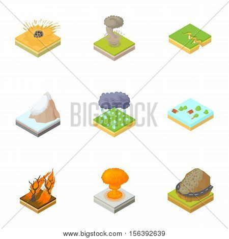 Natural occurrence icons set. Cartoon illustration of 9 natural occurrence vector icons for web