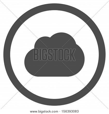 Cloud vector rounded icon. Image style is a flat icon symbol inside a circle, gray color, white background.