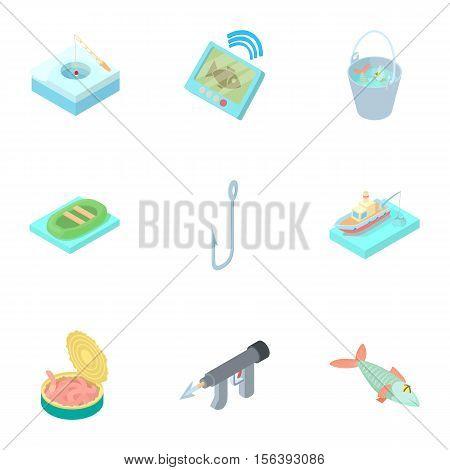 Fishing on river icons set. Cartoon illustration of 9 fishing on river vector icons for web