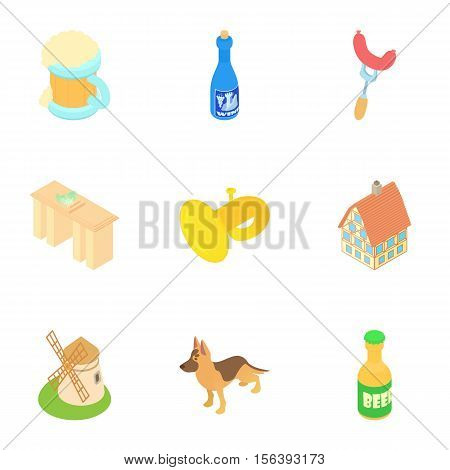 Country Germany icons set. Cartoon illustration of 9 country Germany vector icons for web