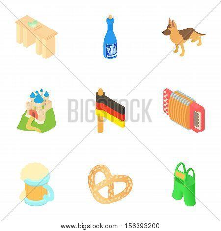 Holiday in Germany icons set. Cartoon illustration of 9 holiday in Germany vector icons for web