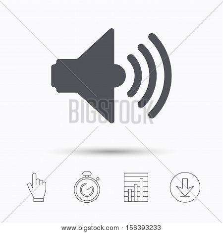 Sound icon. Music dynamic symbol. Stopwatch timer. Hand click, report chart and download arrow. Linear icons. Vector