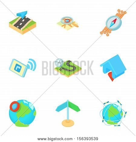 Search territory icons set. Cartoon illustration of 9 search territory vector icons for web