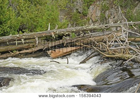Broken Canoe in at Kennebas in Quetico Provincial Park in Ontario Canada