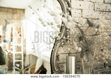 Vintage Interior With A Mirror In Beautiful Frame