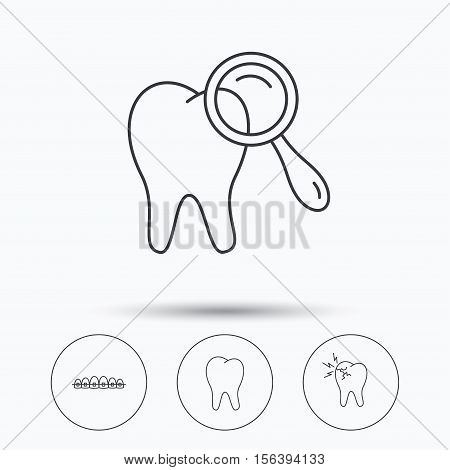 Tooth, dental braces and toothache icons. Dental diagnostics linear sign. Linear icons in circle buttons. Flat web symbols. Vector