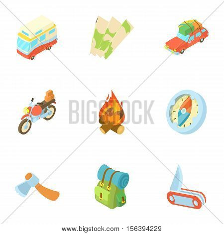 Nature trip icons set. Cartoon illustration of 9 nature trip vector icons for web