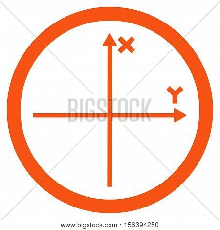 Cartesian Axis vector rounded icon. Image style is a flat icon symbol inside a circle, orange color, white background.