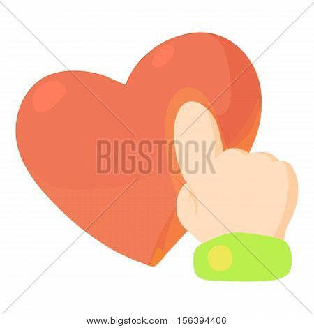 Heart touch icon. Cartoon illustration of heart touch vector icon for web