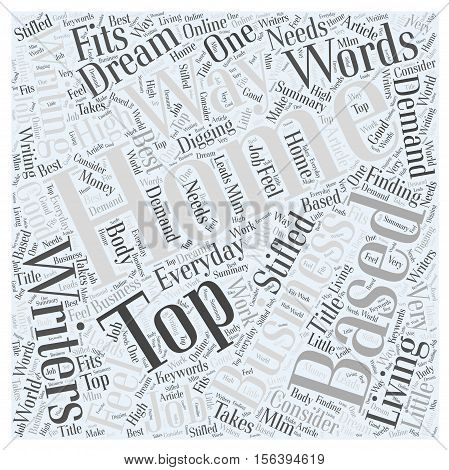 Top Home Based Businesses for Writers word cloud concept