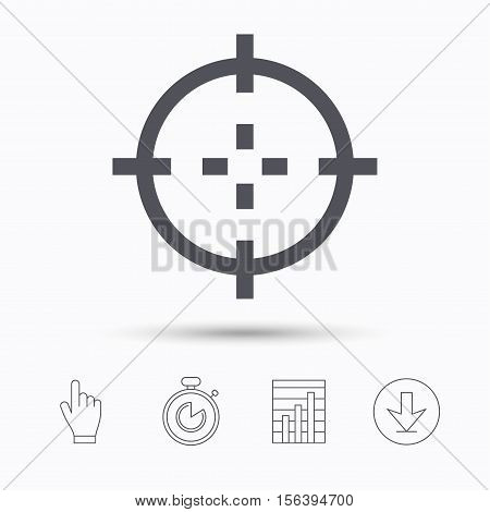 Target icon. Crosshair aim symbol. Stopwatch timer. Hand click, report chart and download arrow. Linear icons. Vector