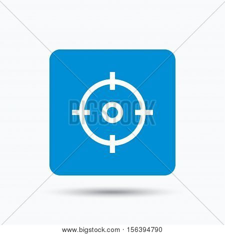 Target icon. Crosshair aim symbol. Blue square button with flat web icon. Vector