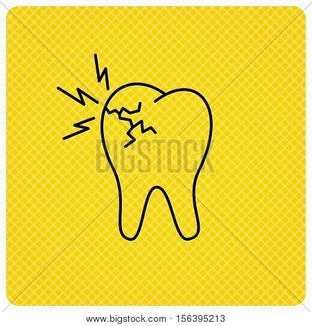 Toothache icon. Dental healthcare sign. Linear icon on orange background. Vector