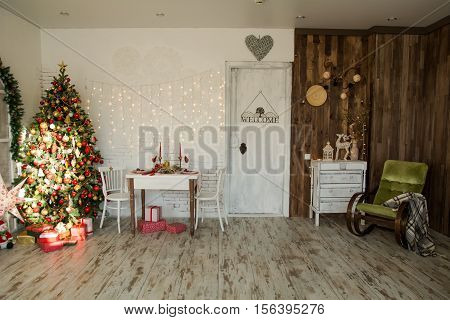 Interior Of Room With Christmas Spruce