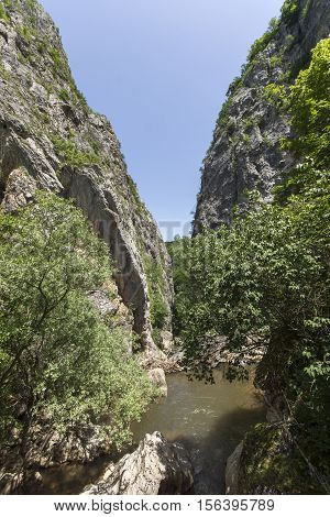 Rocks and river in Gorge of Erma River, Bulgaria