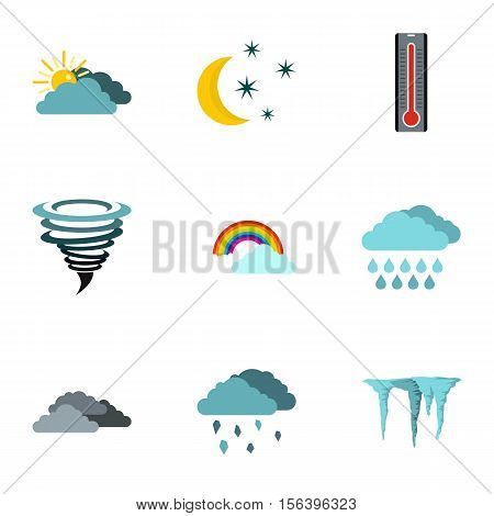 Weather forecast icons set. Flat illustration of 9 weather forecast vector icons for web