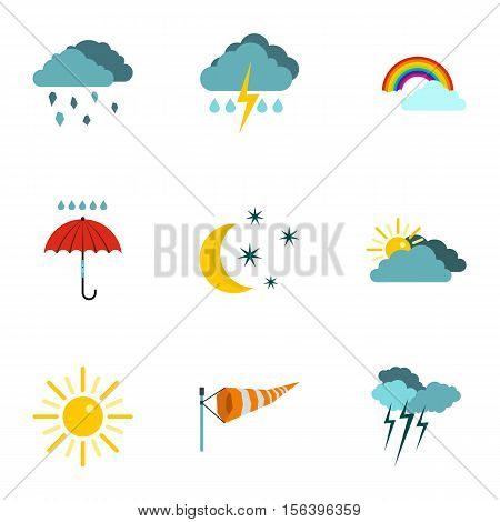 Kinds of weather icons set. Flat illustration of 9 kinds of weather vector icons for web