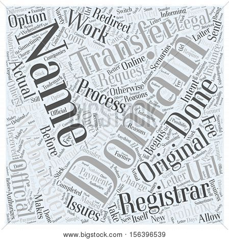 Transferring Domain Names word cloud concept text background