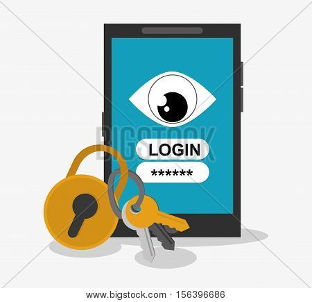 Smartphone and password icon. Security data and cyber system theme. Colorful design. Vector illustration