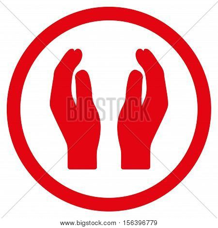 Applause Hands vector rounded icon. Image style is a flat icon symbol inside a circle, red color, white background.