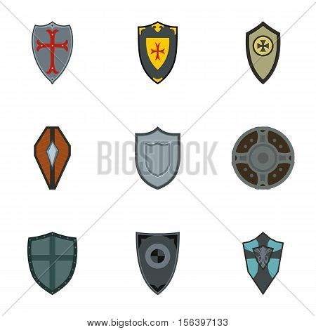 Protective shield icons set. Flat illustration of 9 protective shield vector icons for web