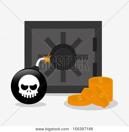 Strongbox bomb and coins icon. Security data and cyber system theme. Colorful design. Vector illustration