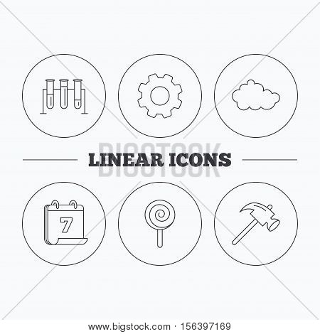 Hammer, lab bulbs and weather cloud icons. Lolly pop linear sign. Flat cogwheel and calendar symbols. Linear icons in circle buttons. Vector
