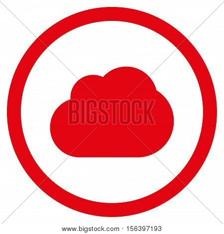 Cloud vector rounded icon. Image style is a flat icon symbol inside a circle, red color, white background.