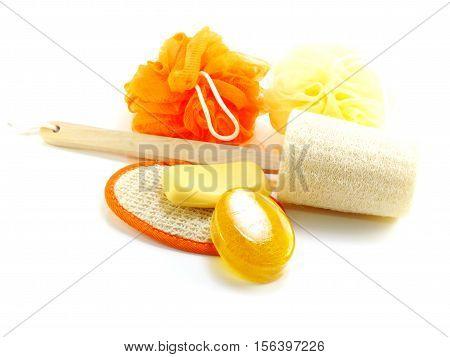 Orang bath puff and loofah spa kit