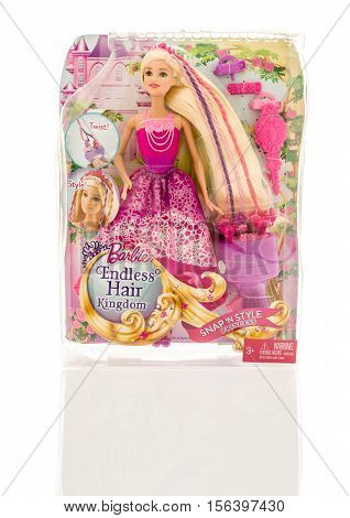 Winneconne WI - 13 November 2016: Package that contains Barbie Endless Hair Kingdom princess on an isolated background.