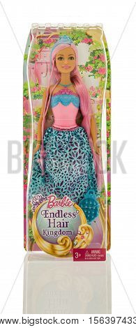 Winneconne WI - 13 November 2016: Package that contains Barbie Endless Hair Kingdom on an isolated background.
