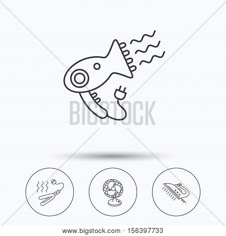 Steam ironing, curling iron and hairdryer icons. Ventilator linear sign. Linear icons in circle buttons. Flat web symbols. Vector
