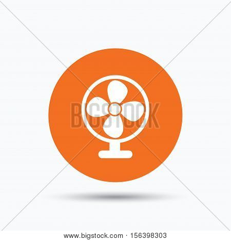 Ventilator icon. Air ventilation or fan symbol. Orange circle button with flat web icon. Vector