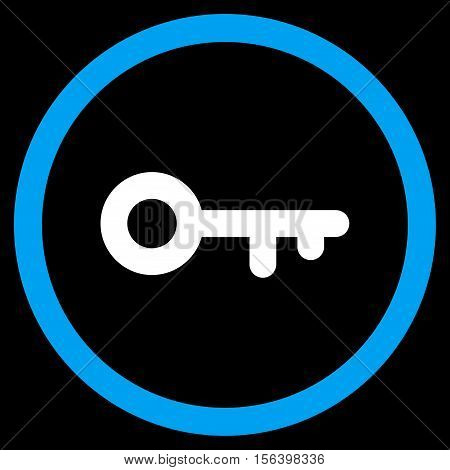 Key vector bicolor rounded icon. Image style is a flat icon symbol inside a circle, blue and white colors, black background.