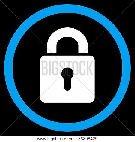Lock Keyhole vector bicolor rounded icon. Image style is a flat icon symbol inside a circle, blue and white colors, black background.