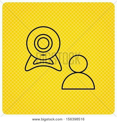 Video chat icon. Webcam chatting sign. Web conference symbol. Linear icon on orange background. Vector