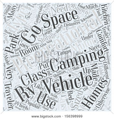 Types of Recreational Vehicles word cloud concept