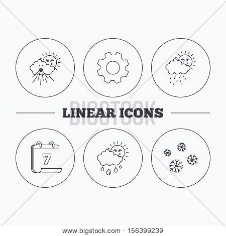Snowflakes, sun and rain icons. Wind linear sign. Flat cogwheel and calendar symbols. Linear icons in circle buttons. Vector