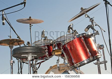 Drumkit Against A Blue Sky Background