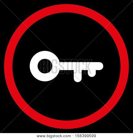 Key vector bicolor rounded icon. Image style is a flat icon symbol inside a circle, red and white colors, black background.