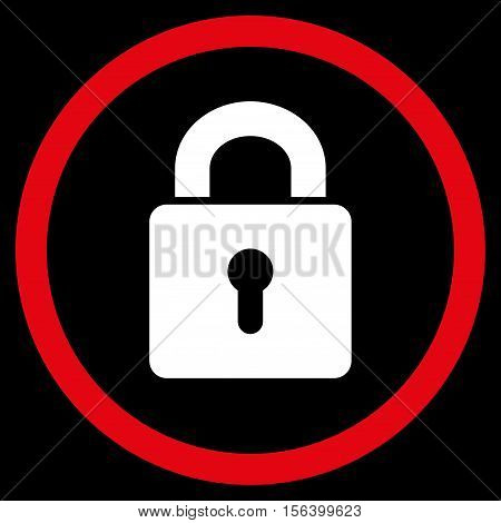 Lock Keyhole vector bicolor rounded icon. Image style is a flat icon symbol inside a circle, red and white colors, black background.