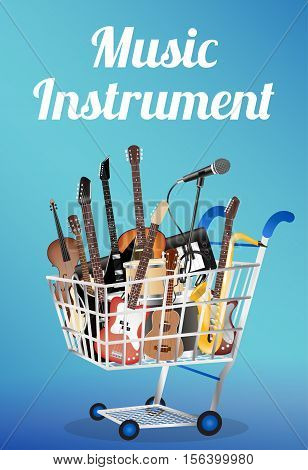 music instrument with electric acoustic guitar bass drum snare violin ukulele saxophone keyboard microphone and headphone on a shopping cart