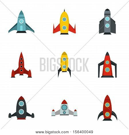 Flight in cosmo icons set. Flat illustration of 9 flight in cosmo vector icons for web poster