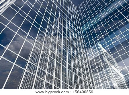 Abstract skyscrapers, Abstract  architectural background, 3D illustration
