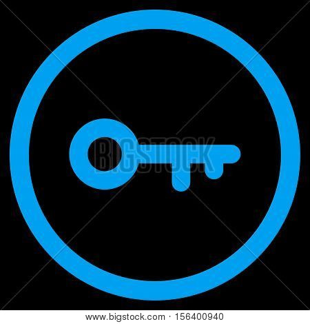 Key vector rounded icon. Image style is a flat icon symbol inside a circle, blue color, black background.