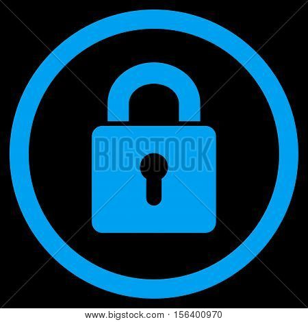 Lock Keyhole vector rounded icon. Image style is a flat icon symbol inside a circle, blue color, black background.