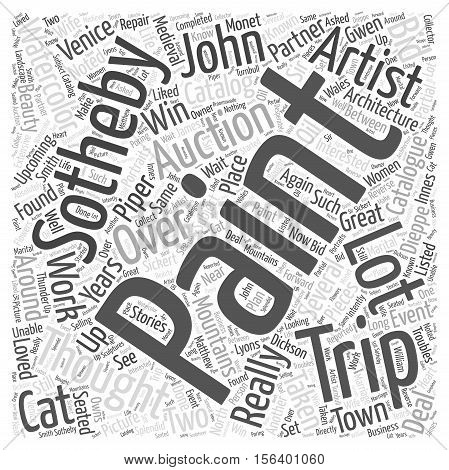 upcoming trip to sothebys word cloud concept