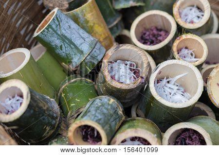 Thai food Glutinous rice roasted in bamboo name is khoalam